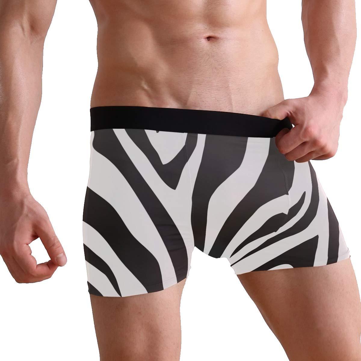 Josid Mens Swim Trunk Boxer Brief Swimsuit Beach Underwear Quick Dry Boardshorts,Black White Stripes Zebra Print