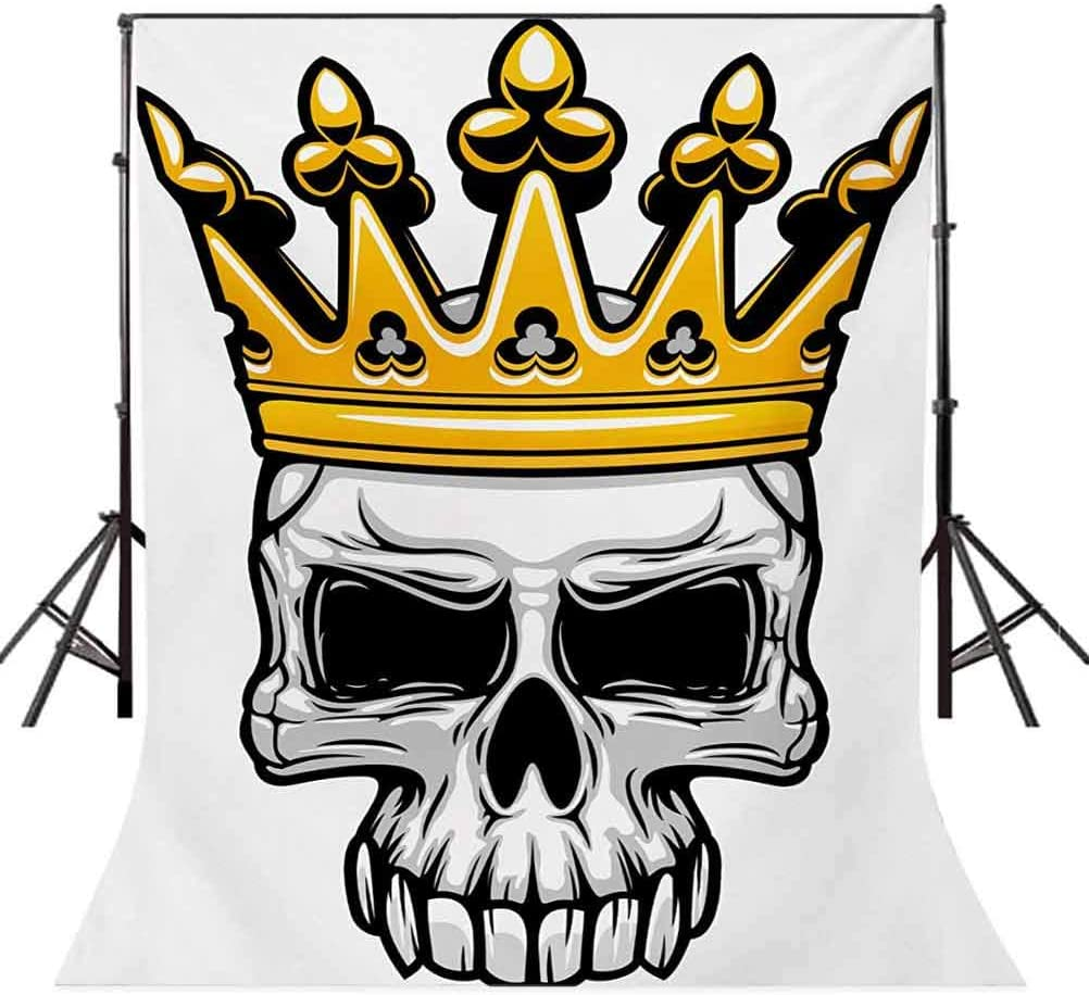 King 6x8 FT Photo Backdrops,Hand Drawn Crowned Skull Cranium with Coronet Tiara Halloween Themed Image Background for Baby Shower Bridal Wedding Studio Photography Pictures Golden and Pale Grey