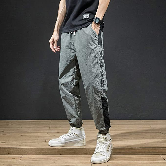 Etecredpow Mens Casual Linen Harem Ankle Trousers Pants with Drawstring
