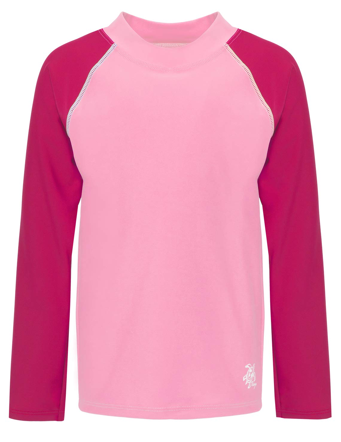 Tuga Basics Girls L/S Rash Guard (UPF 50+), Dalia/Cranberry, 2/3 yrs (19-1000-2/3) by Tuga Sunwear