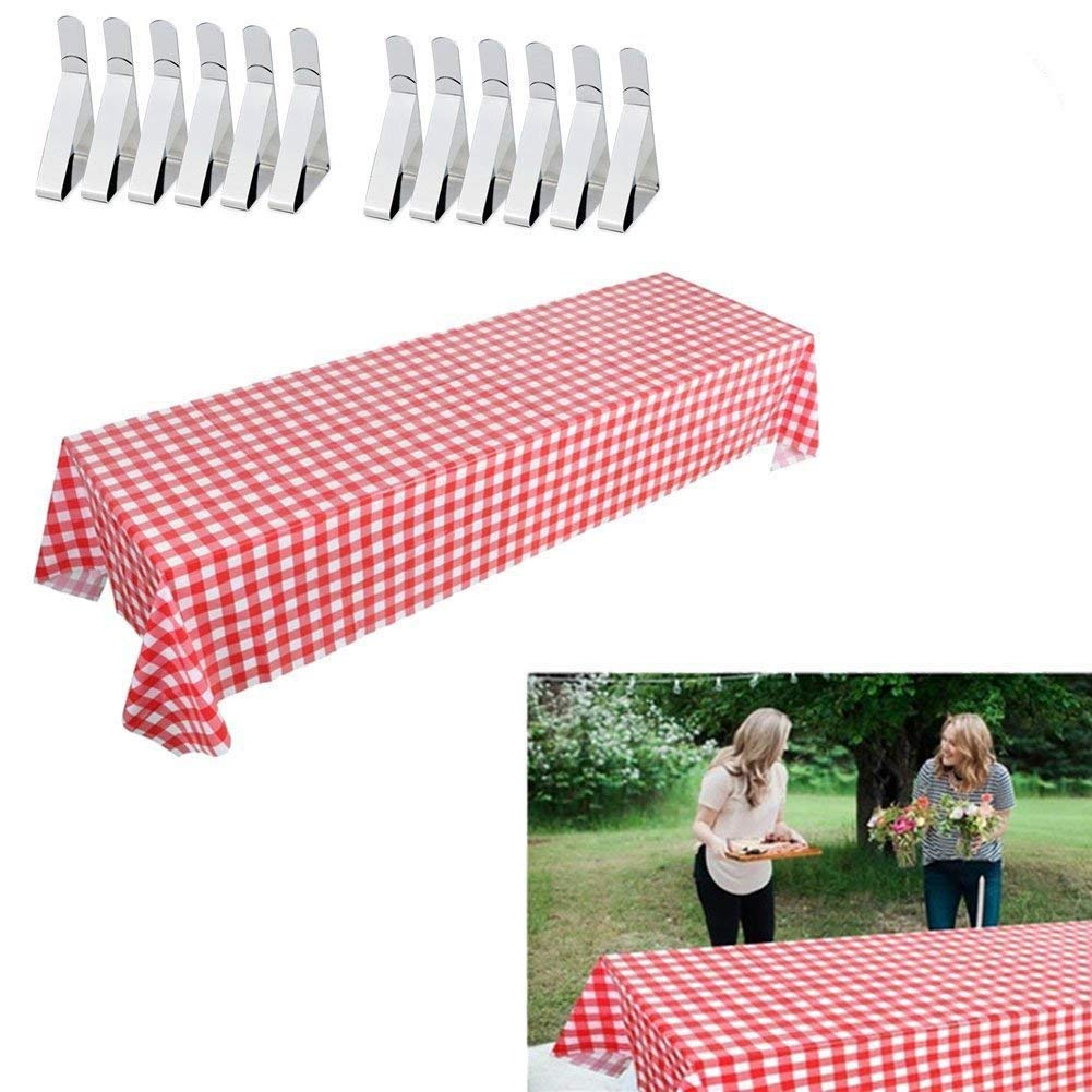 Jetloter 3 Set Red and White Checkered Tablecloths with Tablecloth Clips Stainless Steel Table Cover Clamps