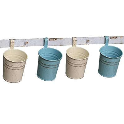 KIKISUM Metal Hanging Flower Pots Mini Iron Garden Balcony Planters Bucket Holders Pack of 4 (2Green+ 2White): Garden & Outdoor