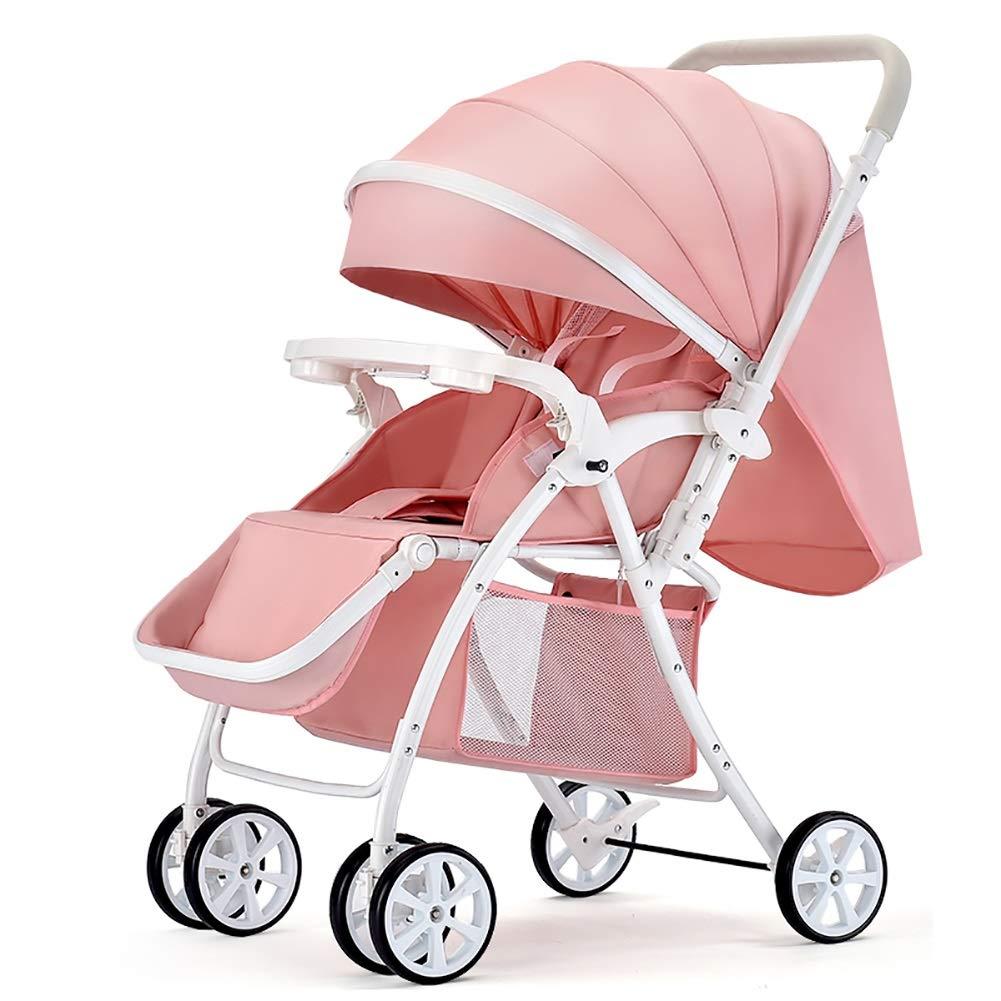 赤ちゃんのベビーカーはリクライニングライトを置くことができますポータブル折りたたみショック新生児のベビーカーのベビーカー (色 : ピンク)  ピンク B07S2WZZQ9