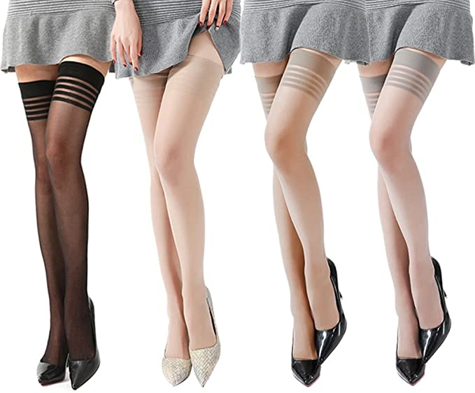 b0fd69001 Women s 4-Pairs 15D Silk Sheer Sexy Thigh High Stockings (4 Pairs  (Black+Coffee+Skin+Gray)) at Amazon Women s Clothing store