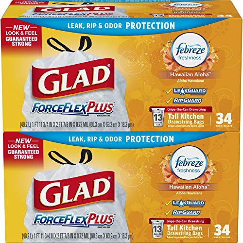 Glad ForceFlexPlus Tall Kitchen Drawstring Trash Bags - Febreze Hawaiian Aloha- 13 Gallon - 34 Count - (Pack of 2) (Packaging May Vary)