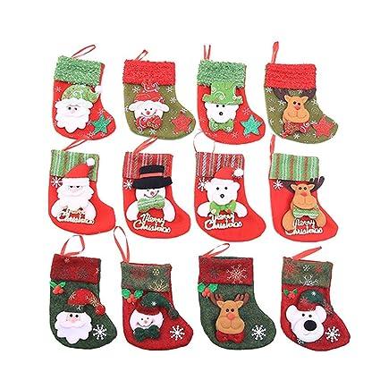 12 de medias de navidad decoracion de la mesa calcetines de Navidad cubiertos bolsillos soporte,