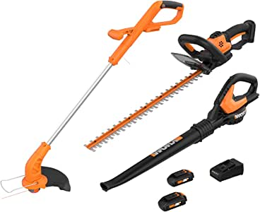 WORX WG910 2-in-1 String Trimmer and Edger, 22-inch Hedge Trimmer, Leaf Blower/Sweeper, 2 Battery Lawn Equipment Combo Pack