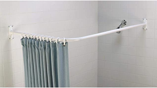 Amazon Com Zenna Home 33941ww 66 X 28 White L Shaped Shower Rod