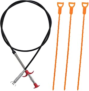 MAOMBO 1 Pack 63 Inch (1.6m) Cleaner Drain Auger Hair Catcher,3 Pack Drain And snake Clog Remover Cleaning Tools,For Kitchen Sink Bathroom Tub Toilet Clogged Drains Dredge Pipe Sewers