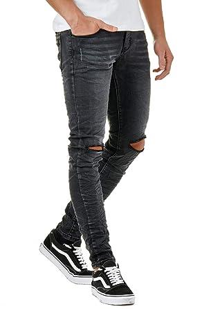 gute Qualität uk billig verkaufen gut aussehen Schuhe verkaufen EightyFive Herren Denim Destroyed Jeans Hose Skinny Fit ...