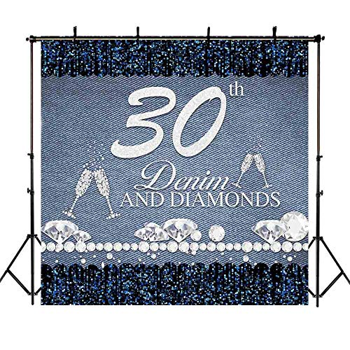Mocsicka Denim and Diamond Backdrop 8x8ft Happy 30th Birthday Goblet Photo Booth Backdrops Lady Thirty Years Photography Background