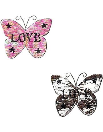 Haodou Mariposa Rosa Amor Cambio Reversible Color Lentejuelas Coser En Parches para La Ropa DIY Parches