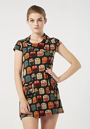 1732a852cc2 STELLA MORGAN OWL PRINT KNITTED BUTTON TUNIC DRESS MULTI RED 8 10 12 14 16 ( 10): Amazon.co.uk: Clothing