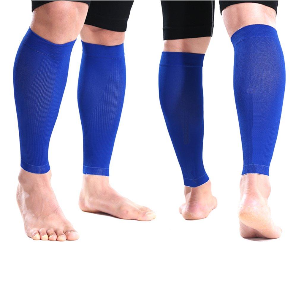 feamos 1par de compresión para la pantorrilla calcetines para deportes running correr entrenamiento de manga (azul, L)