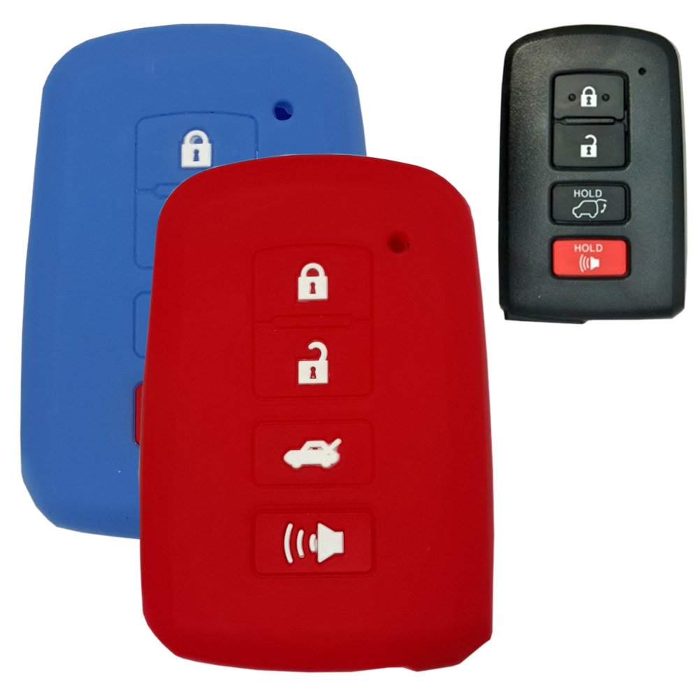 Toyota Camry 14 15 Highlander RAV4 Avalon Hanmin Motors Car Smart Key Silicone Case Rubber Skin Protector Compatible with Blue//RED 2 Pieces # 22