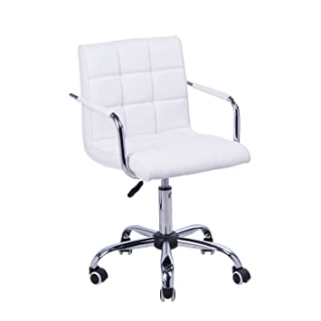 white leather computer chair. HOMCOM PU Leather Height Adjustable Office Computer Chair 360 Degree Swivel With Chrome Base And White M