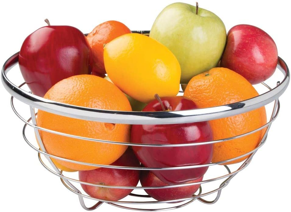 iDesign Round Fruit Bowl Made of Metal Wire, Modern Fruit Basket for Fruit, Vegetables and More, Practical Wire Basket for Kitchen and Storage, Silver