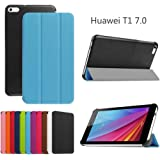 Custodia per HuaWei MediaPad T1 7.0, DEENOR PU pelle Ultra sottile con Smart Auto Sonno / Sveglia la Funzione Custodia Cover per HuaWei MediaPad T1 7.0. (SKY BLUE)