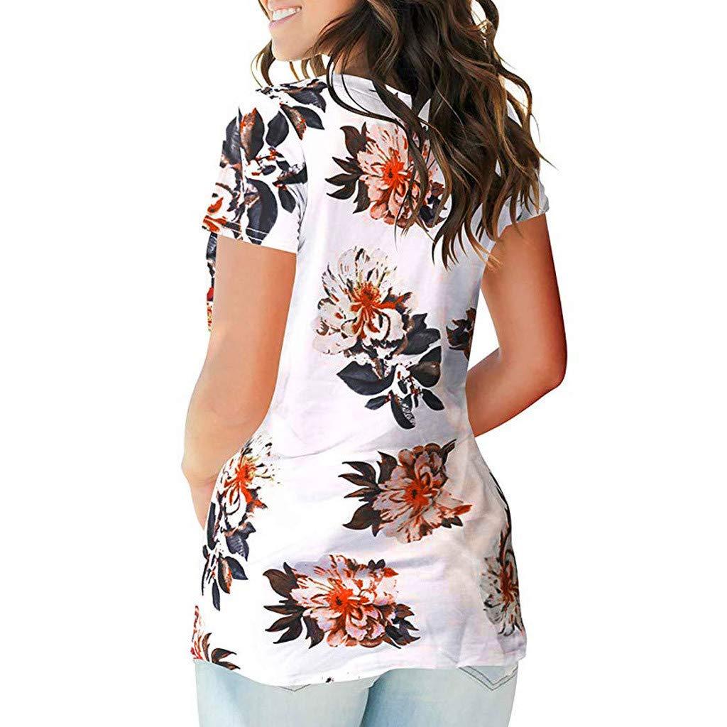 T-Shirt Kurzarm Damen Elegant Creme Sommer Top Mit Spitze Druck V Ausschnitt Kurzarm Shirt Casual Tunika Freizeit Bluse