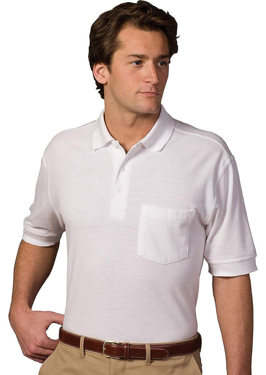 Edwards Blended Pique Short Sleeve Polo with Pocket Large Burgundy