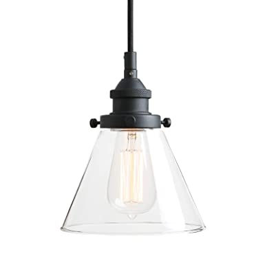 Pathson Retro Pendant Lighting with Clear Glass Shade and Metal Base Cap, Kitchen Light fixtures with Funnel Flared Style and Adjustable Textile Cord, Indoor Lamp for Bedroom Bathroom