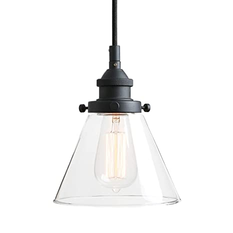 Pathson Retro Pendant Lighting With Clear Glass Shade And Metal Base Cap Kitchen Light Fixtures With Funnel Flared Style And Adjustable Textile Cord