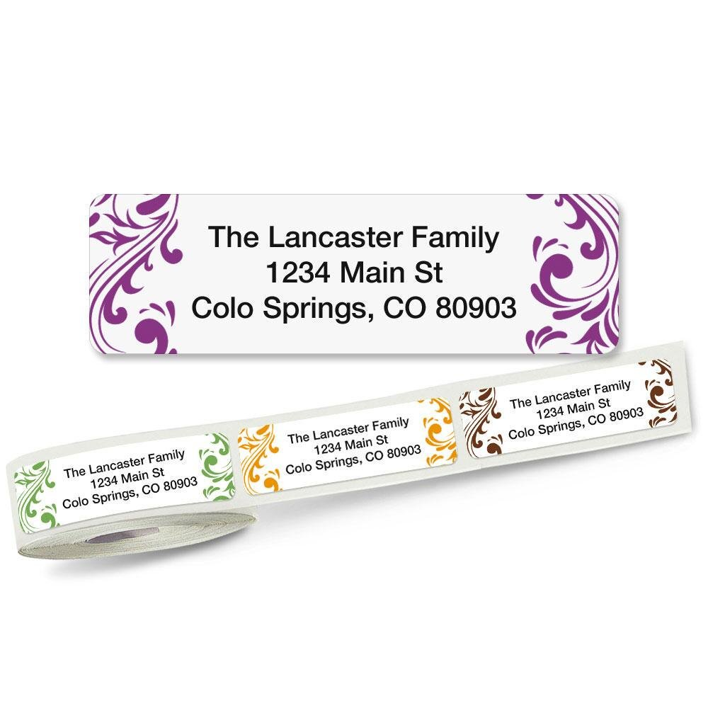 Elegant Swirl Rolled Address Labels (5 Designs) Roll of 250