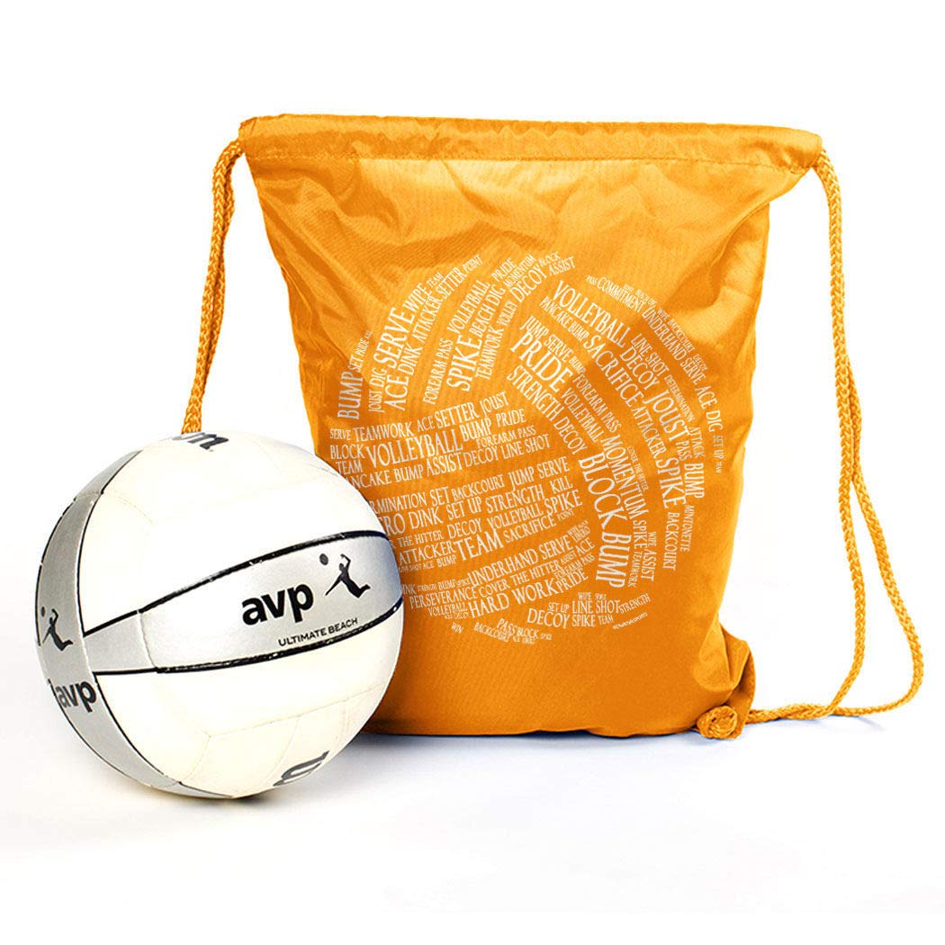 Amazon.com | Volleyball Sport Pack Cinch Sack | Volleyball Words | Yellow | Drawstring Bags