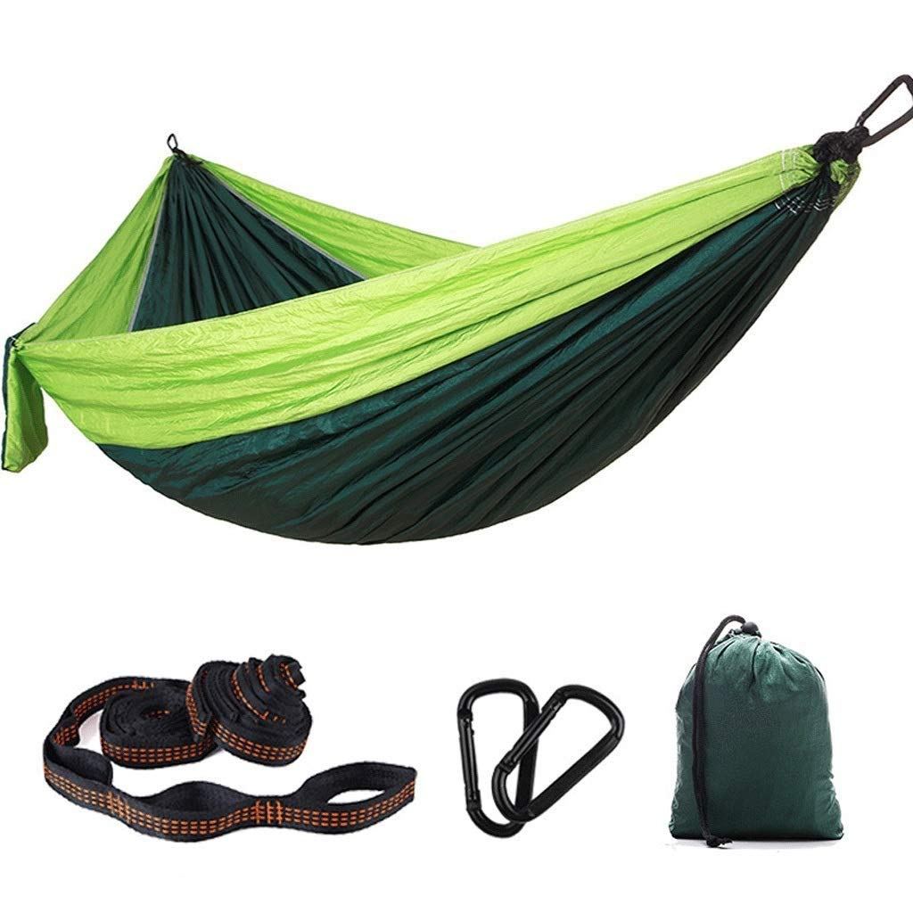 Jx Ultralight Travel Camping Hammock 300kg Carrying Capacity Nylon Outdoor Double Swing Chair Parachute Cloth Dormitory Hammock (Color : Green and Green) by Jx