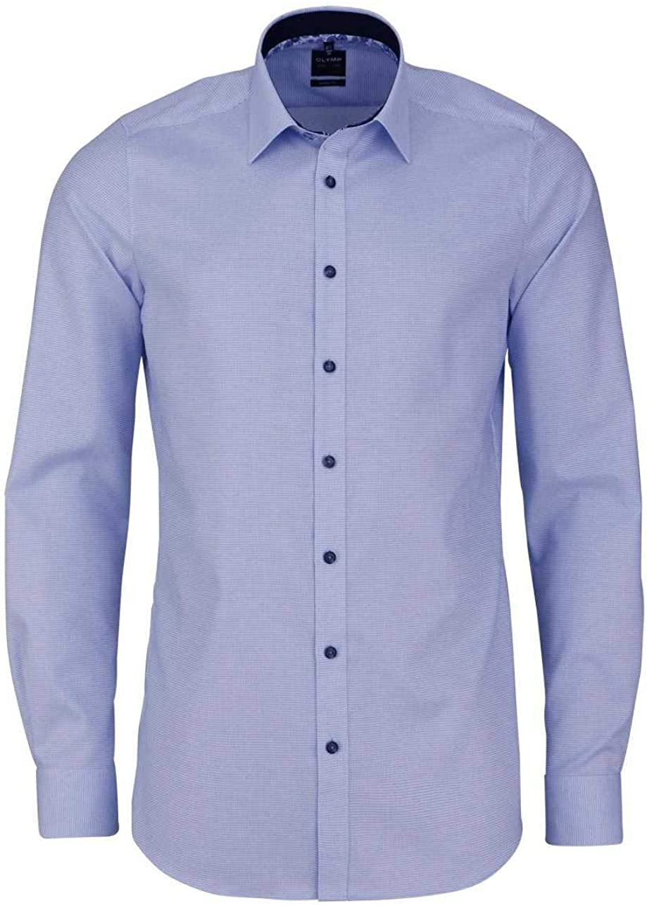 OLYMP Level Five Body Fit Camicia a Maniche Lunghe New Kent Colletto a Quadri Blu