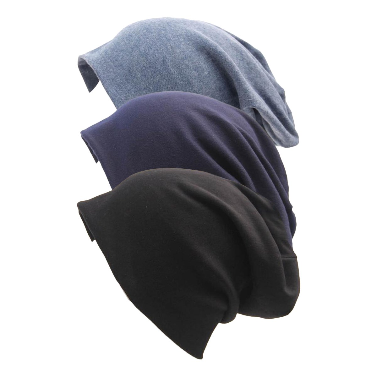 Century Star Women Dots Slouch Beanie Soft Cotton Headwraps Chemo Hat Slouchy Cap (3 Pack) Black&Navy&Denim