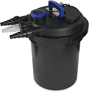 XtremepowerUS 10000L Koi Pond Fish Bio Filter Pressure 13W (UV-Sterilizer) 4000 Gallons Easy Backwash, Black