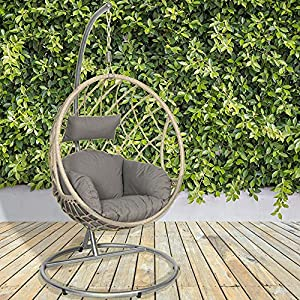 GardenCo Milan Hanging Basket Chair with Stand Outdoor