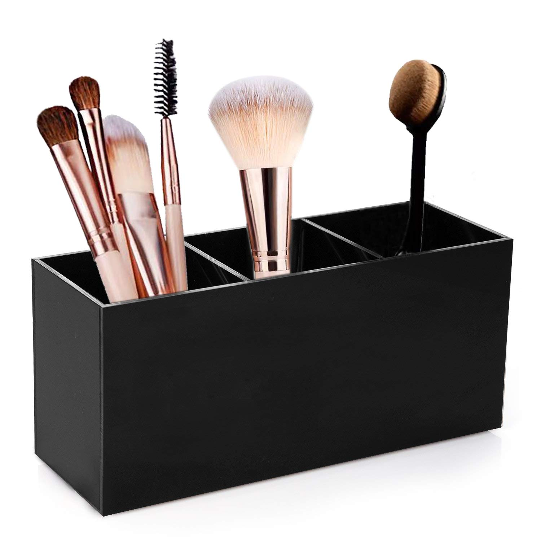 Makeup Brush Holder Organizer 3 Slot Plastic Cosmetic Brushes Storage Eyeliners Eyebrow Pencil Display Case for Vanity, Bathroom, Countertop and Dresser Black