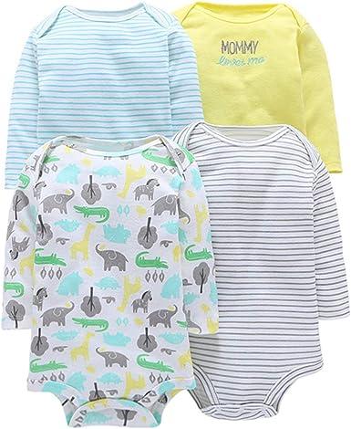 4 Piezas Bebé Body Mono de Manga Larga Mameluco Algodón Recién Nacido Pijama Bebés Juegos de Regalo: Amazon.es: Ropa y accesorios