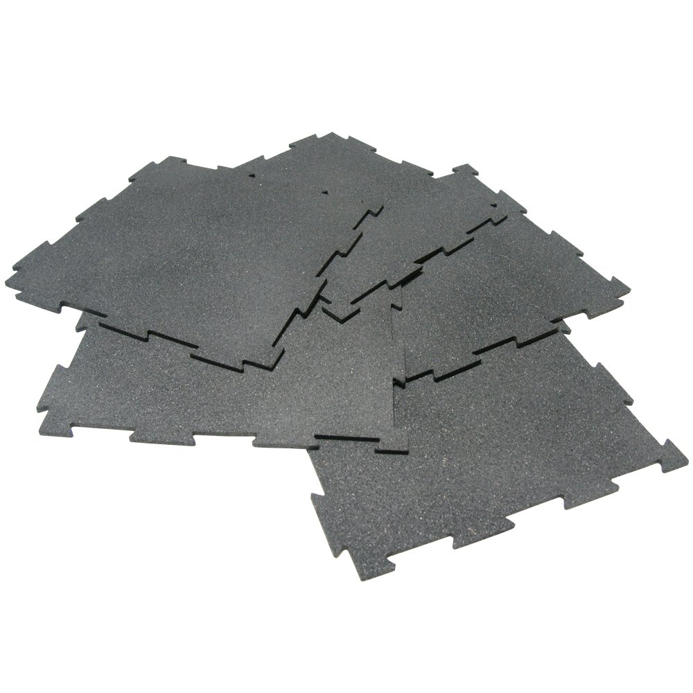 Rubber-Cal ''Puzzle-Lock'' Interlocking Basement Flooring - 3/8x20x20inch, 25Pack, 68 Sqr/Ft - Black Mats
