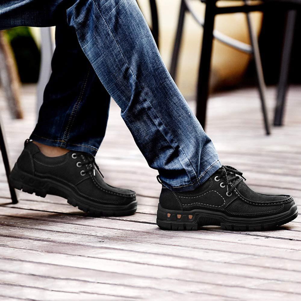 WANG-LONG Chaussures Homme Bottes Martin De Ran ée en Air Plein Air en Chaudes en Cuir Et Velours Antidérapantes Loisirs Résistants à l'usure,Brown-44 17c288