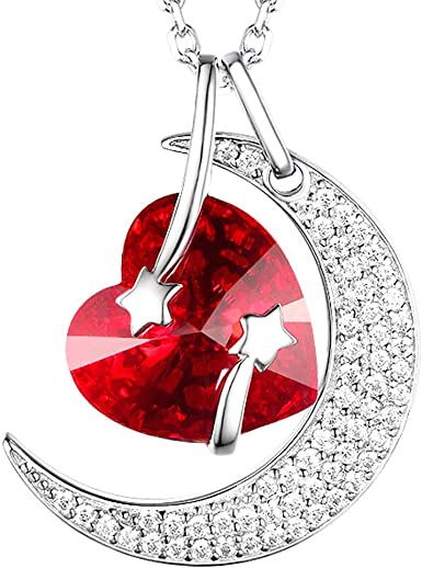 Elda/&Co July Birthstone created Ruby Necklace Sterling Silver Forever Love Intinity Pendant Necklace for Women Teen Girls Birthday Gifts Anniversary Gifts for Her
