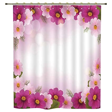 Shower CurtainPinkFramework With Romantic Daisies Valentines Day Decor Celebration ThemePink