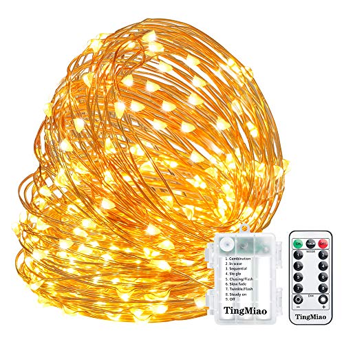 TingMiao Fairy Lights 32.8ft 100 LED String Lights Battery Operated with Remote Waterproof Copper Wire Lights for Indoor Decorative Lights (Warm White)