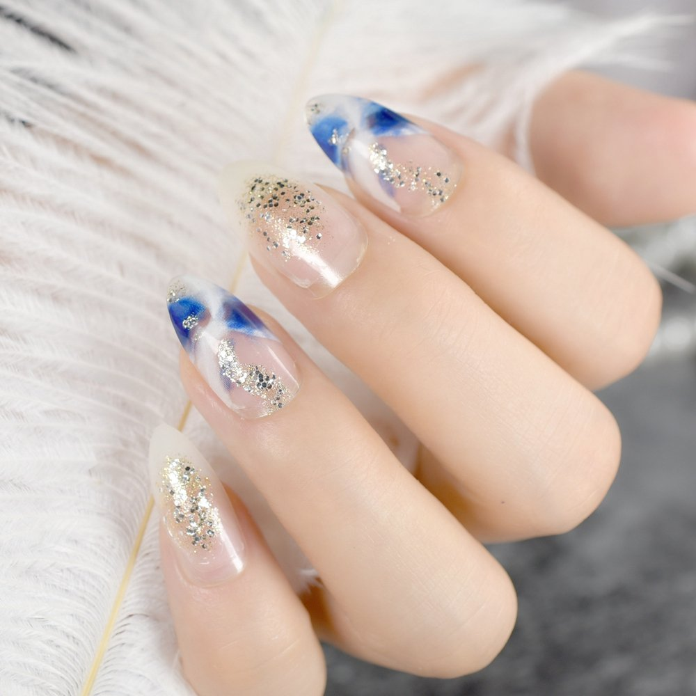 Amazon.com : Sparly Glitter French Fake Nails Deep Blue Marble Design Kit Medium Finished False Nail Art Tips Makeup Manicure Tool Z776 : Beauty