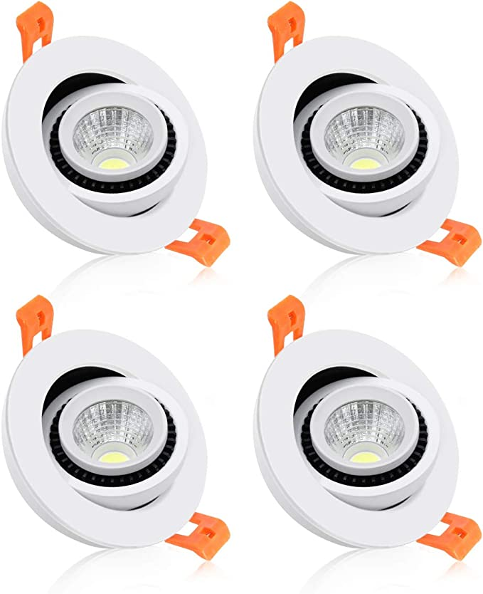 LED Ceiling Light with LED Driver CRI80 3W 4000K Nature White YGS-Tech 2 Inch LED Recessed Lighting Dimmable Downlight 4 Pack 35W Halogen Equivalent
