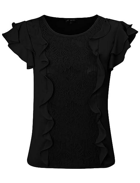 f35b7e181de40 Michel Women s Ruffle Front Lace Blouse Top Tulip Sleeve Tops Black Small