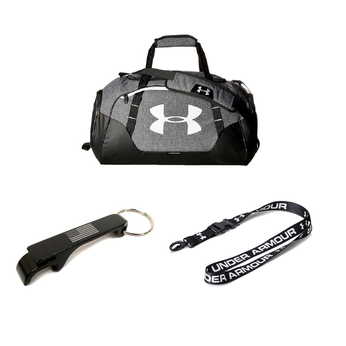 6227ae406a25 Under Armour Undeniable 3.0 XS Duffle Bag w Lanyard + USA Bottle Opener  (Graphite Black White)  Amazon.ca  Sports   Outdoors