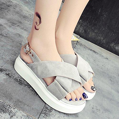 RUGAI-UE Sandalias de verano mujer estudiante plana transversal inferior grueso zapatos de ocio Gray
