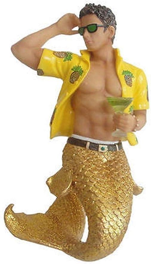 New DECEMBER DIAMONDS Figure Ornament ALOHA HAWAIIAN GOLD Glitter Mermen Statue