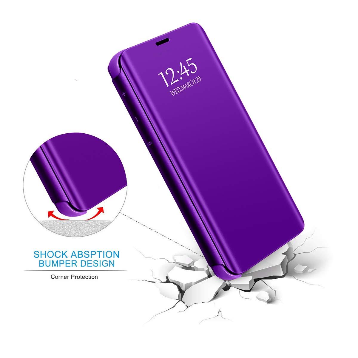 18eay Custodia per Samsung Galaxy J5 2016 Cover Ultra Sottile Clear Specchio Flip Libro in Plastica Dura PC Mirror Antiscivolo Case per Galaxy Samsung Galaxy J7 2016