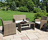 Cheap Ecolinear 4pc Rattan Sofa Cushion Seat Garden Patio Lawn Sectional Couch Wicker Furniture Set, New Anti-Slip Outdoor PE, Steel Frame, Brown