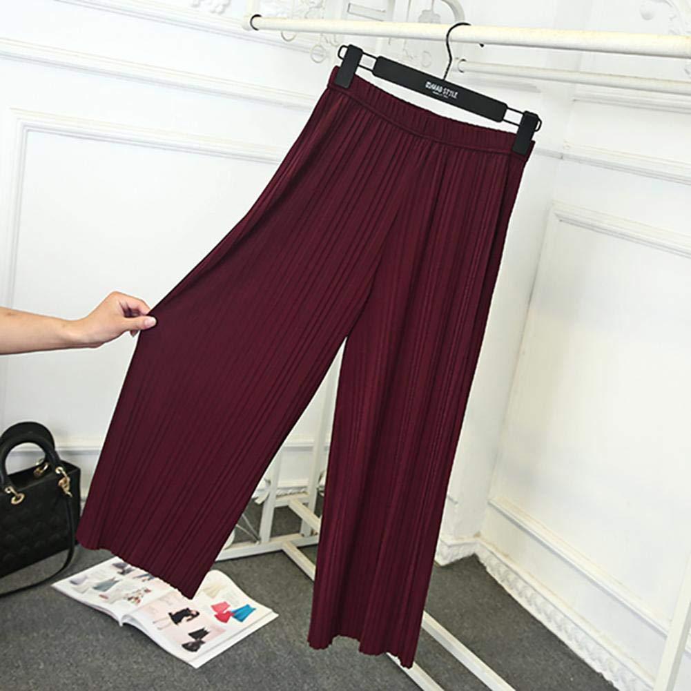 Size XL FAIYIWO Fashion Women Korean Pleated Loose Wide Leg Pants High Waist Casual Trouser FAIYIWO Khaki