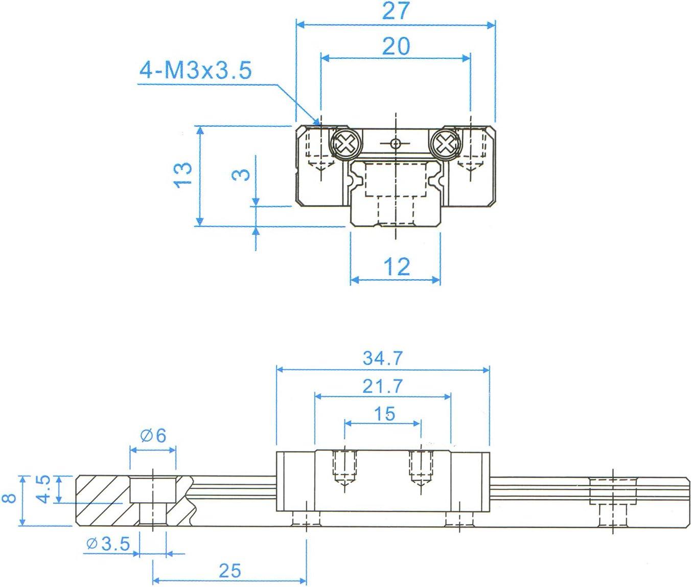 Usongshine MGN12 Linear Rail Guide with MGN12C Linear Bearing Sliding Block Match for CNC xyz DIY Engraving Machine 350mm, C-Type
